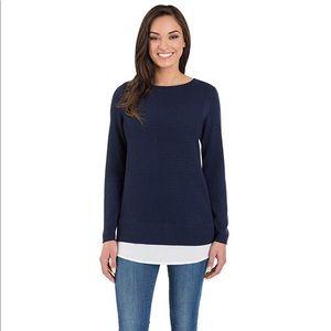 Hilary Radley navy 2fer shirttail sweater small